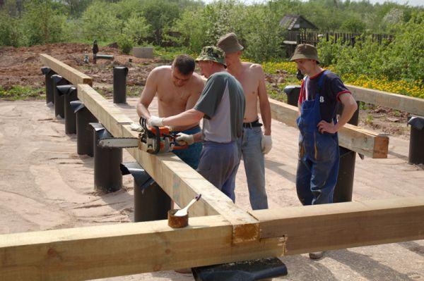 строительство обвязки из бруса