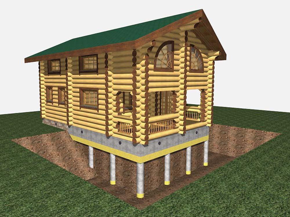 дом с ленточным фундаментом на сваях