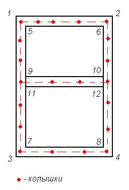 Схема разметки фундамента ТИСЭ