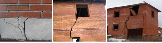 Недостроенное здание, пришедшее в аварийное состояние из-за пучения грунта