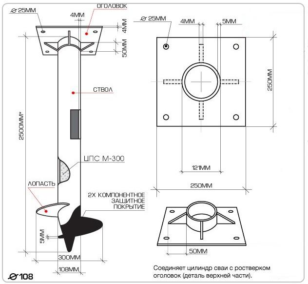 Схема винтовой сваи диаметром 108 мм